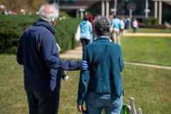 Edward and Sharon Lippert came prepared for a long wait time at the polls